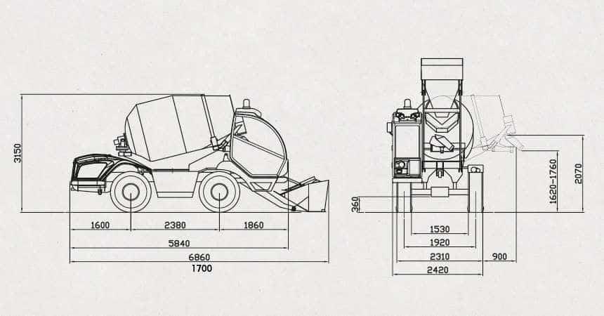 Xe trộn bê tông tự nạp liệu Carmix 3500TC